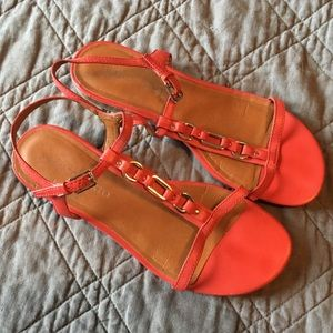 Franco Sarto Deep Pink Mini Wedge Sandals